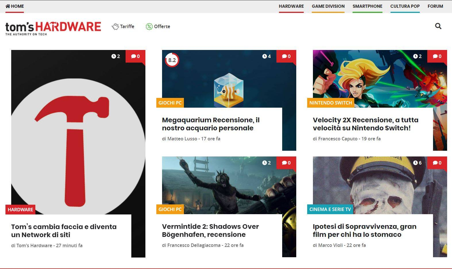Screenshot nuova homepage
