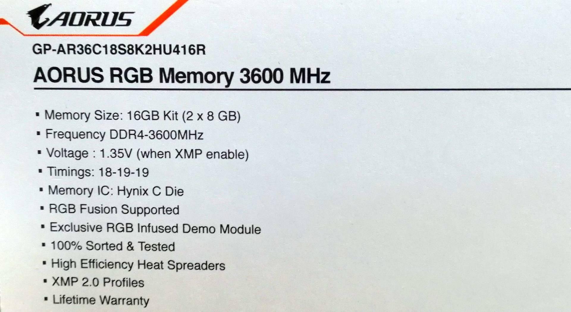 Gigabyte Aorus RGB DDR4-4000