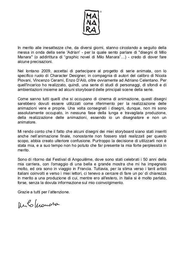 lettera Manara Adrian