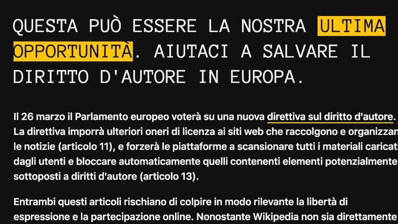 Wikipedia Italia oscurata per protestare contro la direttiva sul diritto d'autore
