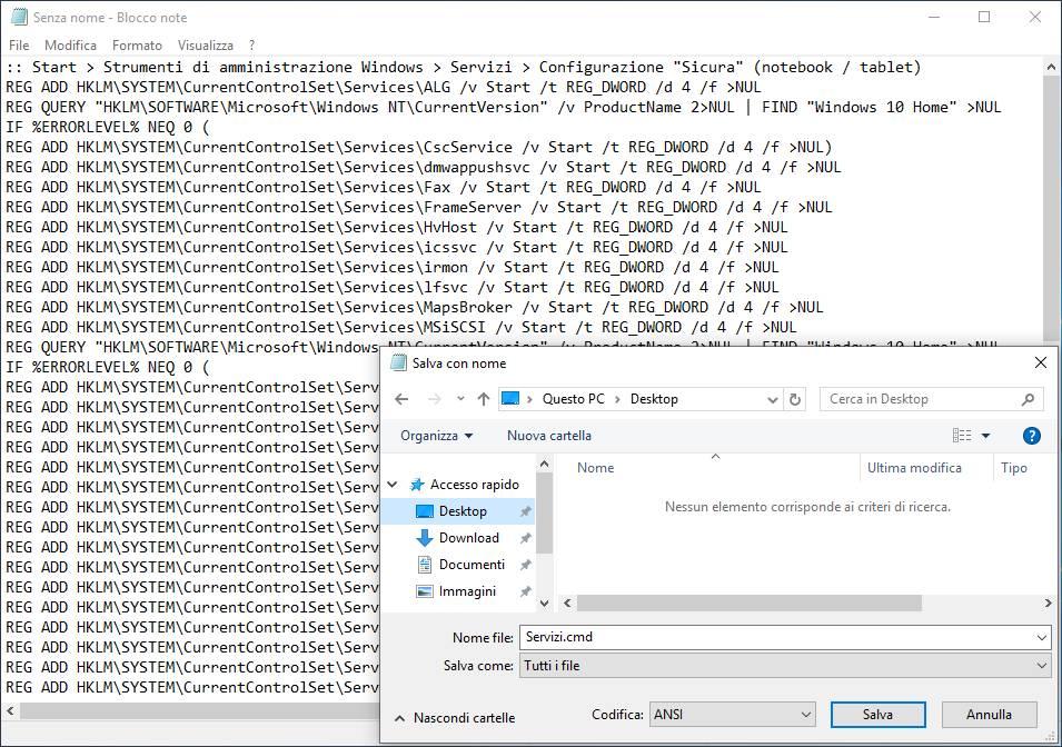 Configurare e ottimizzare Windows 10 Servizi