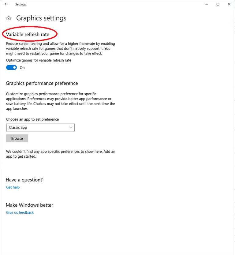 Windows 10 Variable Refresh Rate
