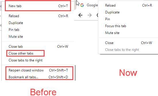 Google Chrome 78 Canary build menu