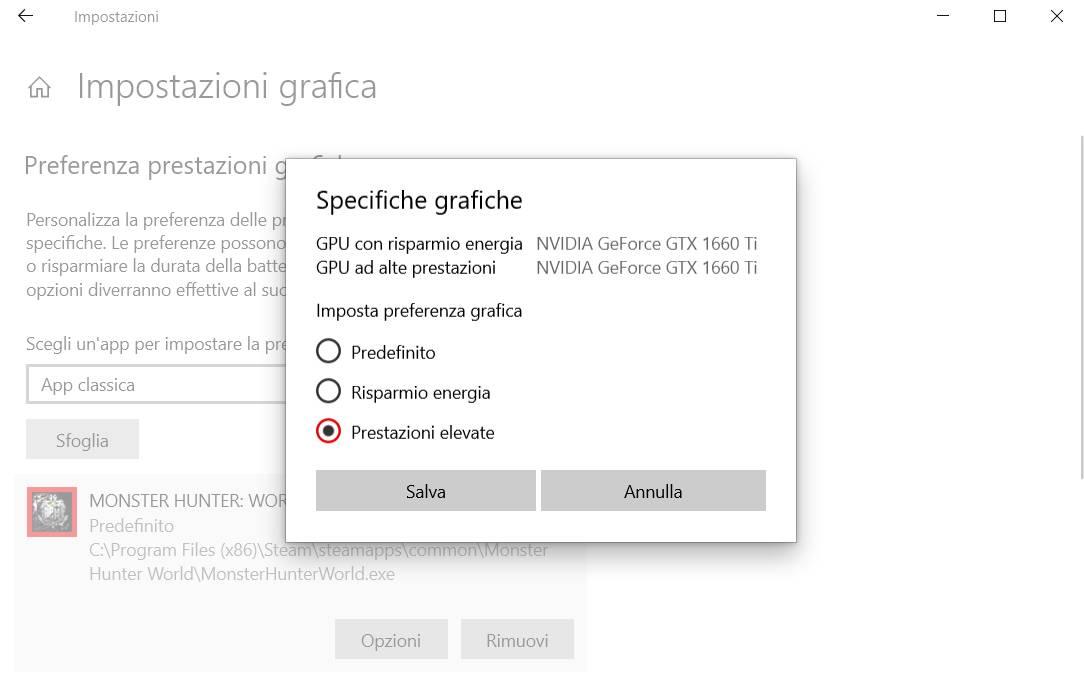 impostazioni grafica scegliere GPU per app 1