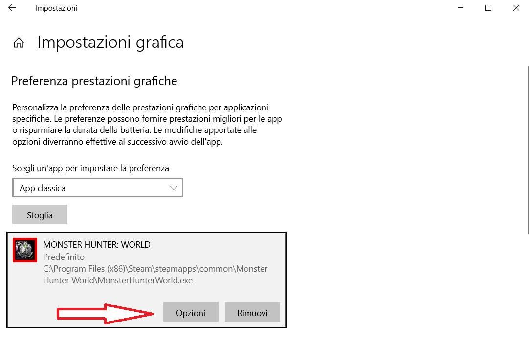 impostazioni grafica scegliere GPU per app 4
