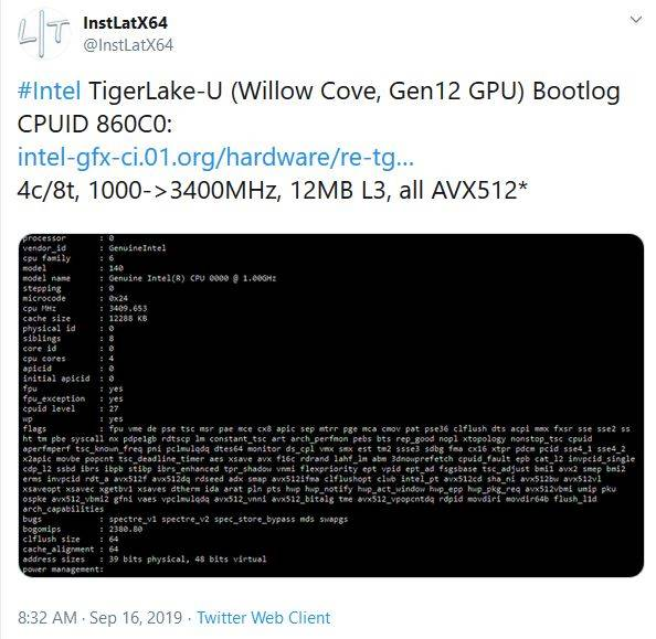 Intel Tiger Lake: fino al 50% di cache in più