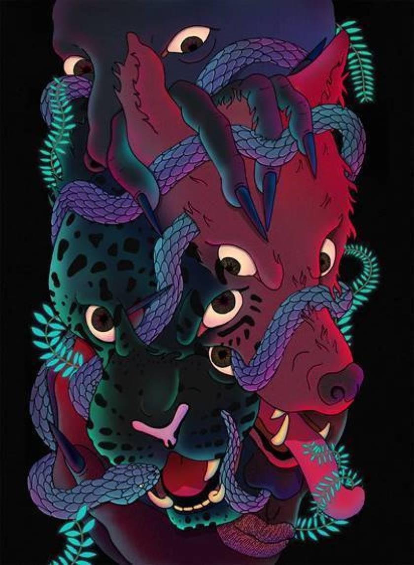 leopardo nero, lupo rosso