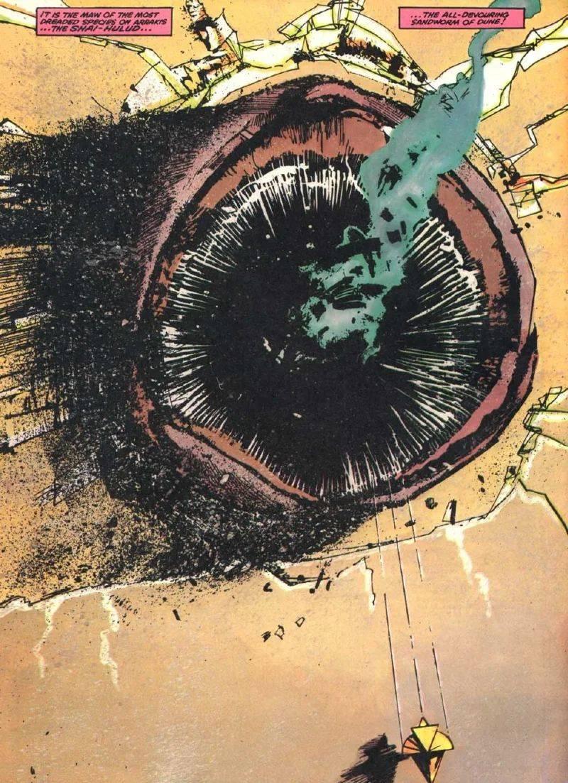 Un verme delle sabbie disegnato da Bill Sienkiewicz nell'adattamento a fumetti del film Dune