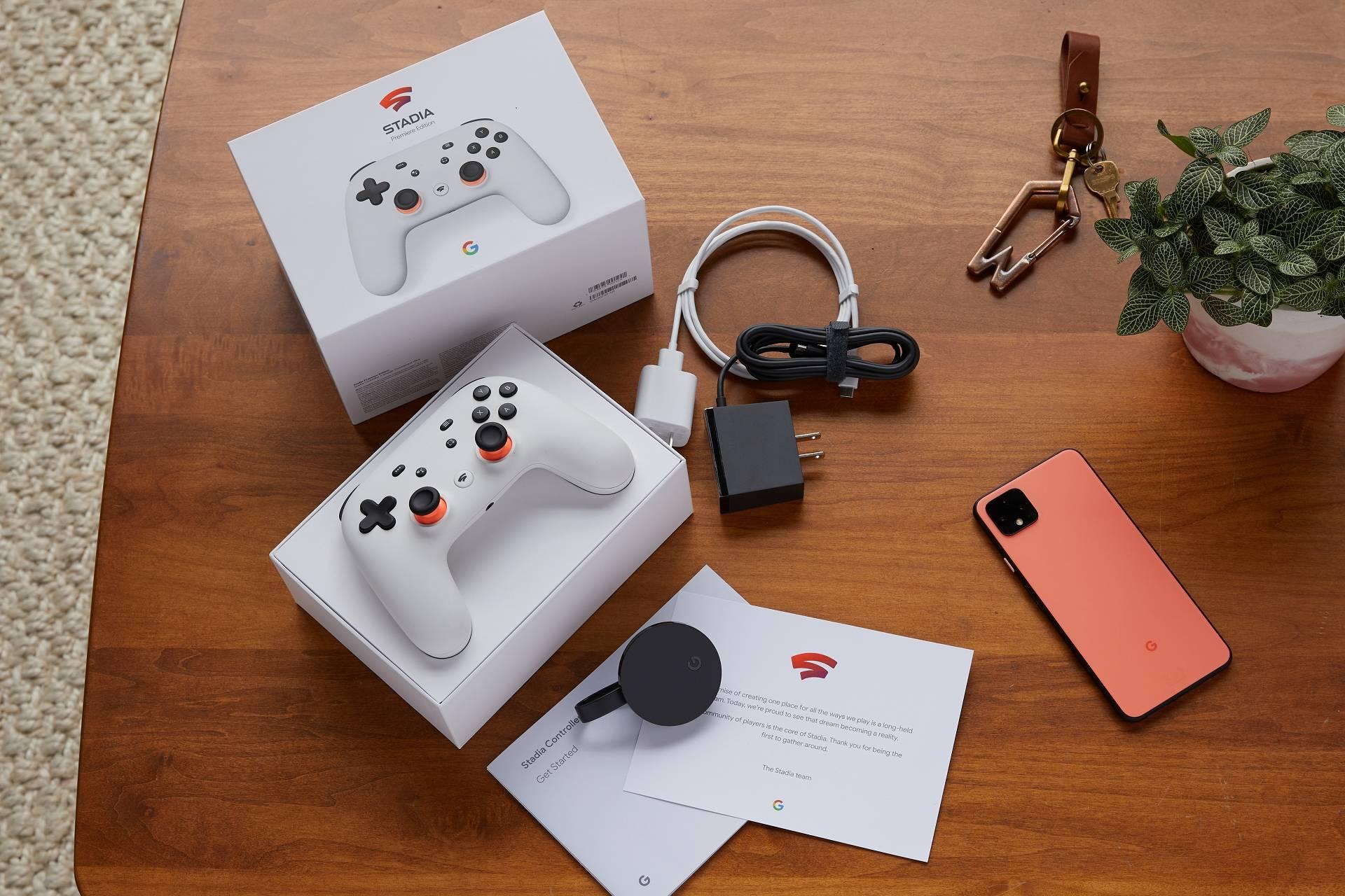 Google Stadia device con box