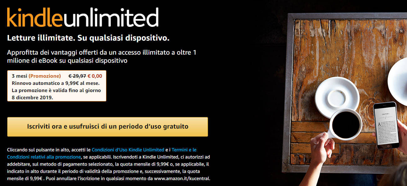 kindle unlimited 3 mesi gratis