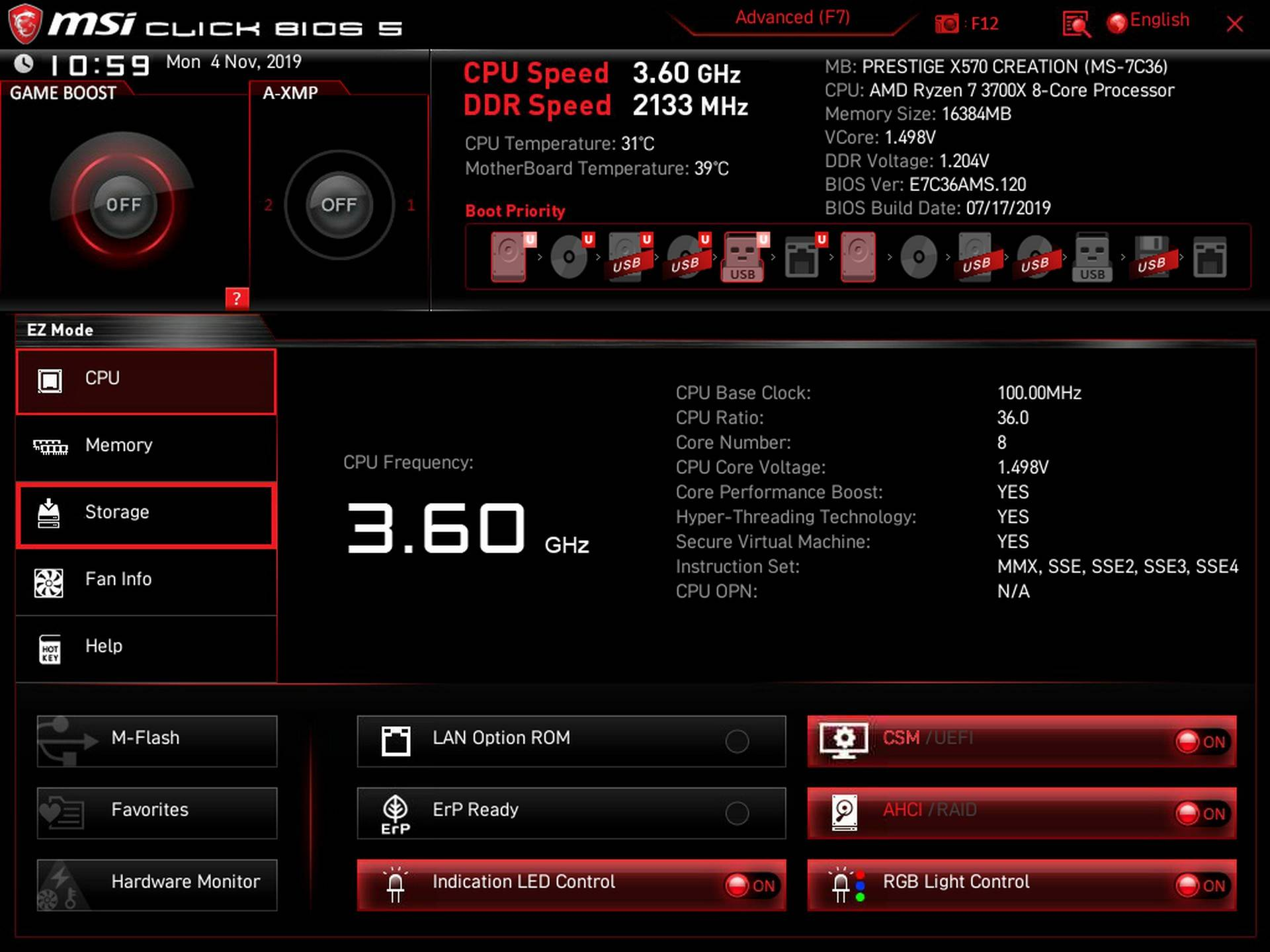 BIOS MSI Prestige X570 Creation