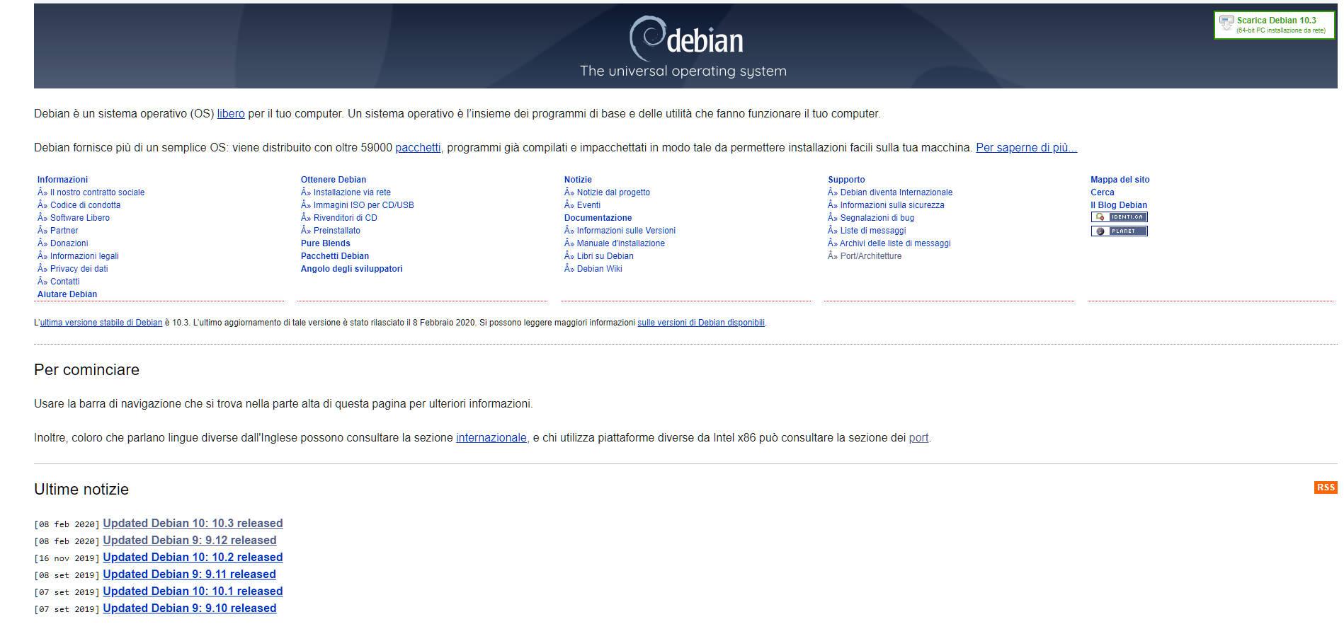 Debian home page