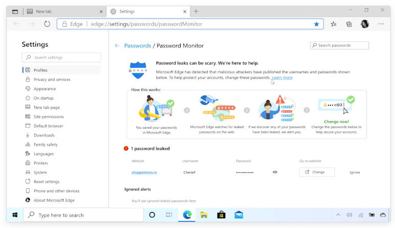 Microsoft Edge Password Monitor