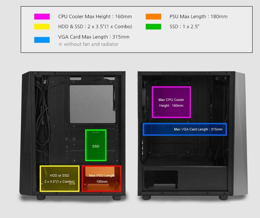 Zalman S4 Plus components layout