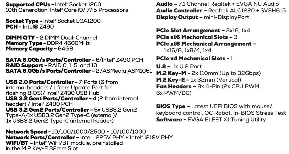 EVGA Z490 DARK Specs