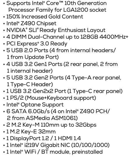 EVGA Z490 FTW WiFi Specs