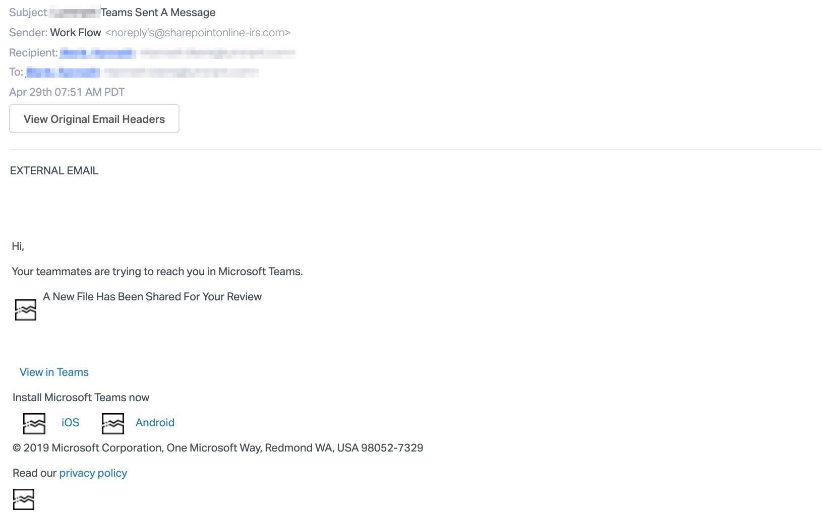 Microsoft Teams Phishing mail