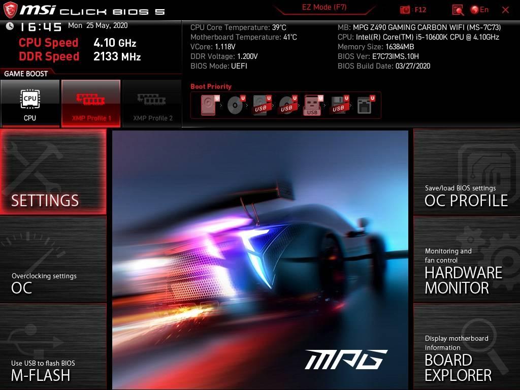 BIOS MSI Z490 Gaming Carbon
