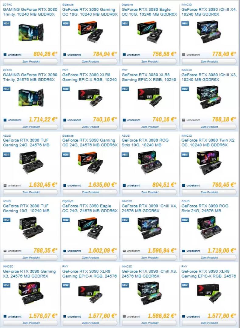 NVIDIA RTX 3090 3080 Prezzi