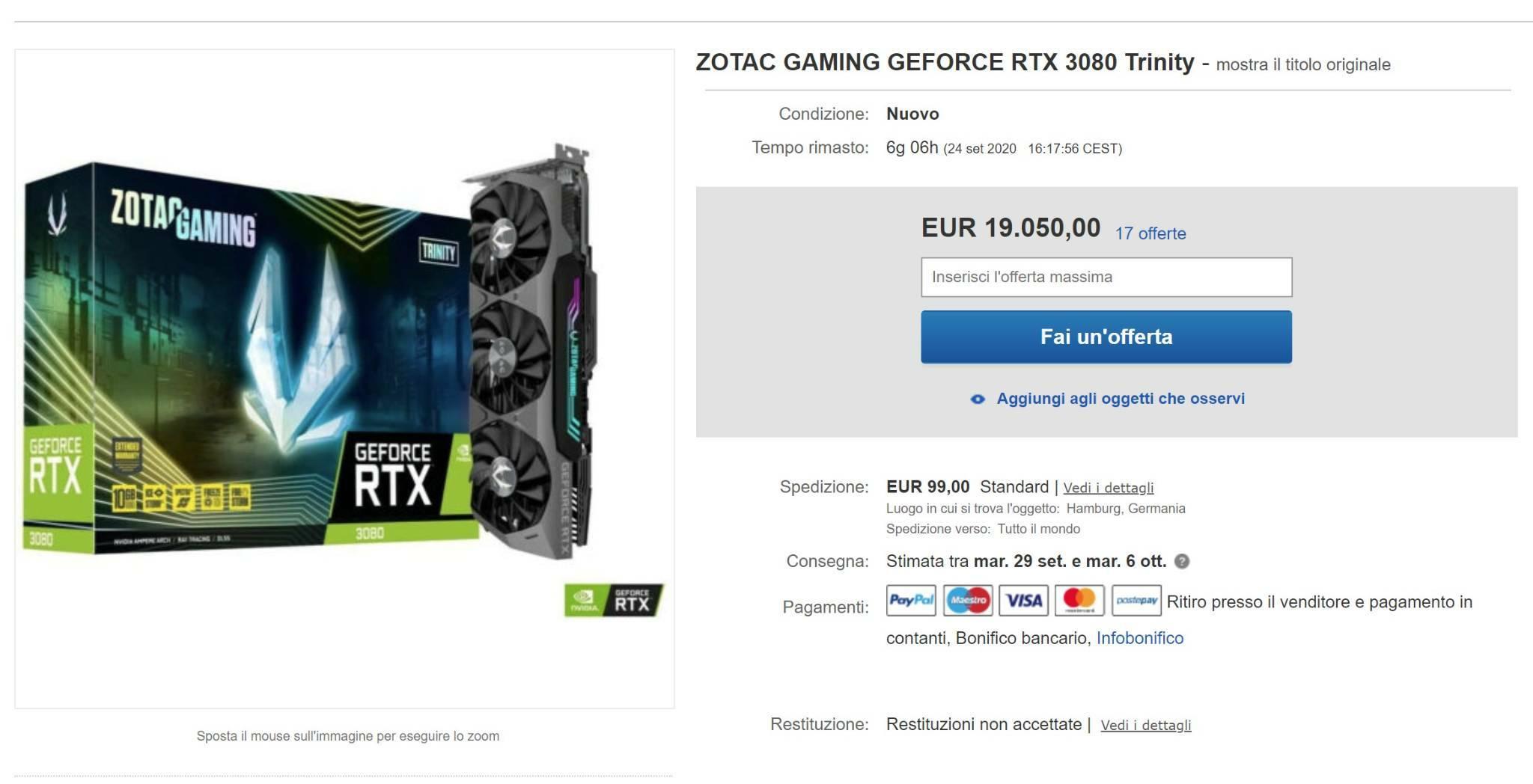 ZOTAC RTX 3080 eBay 20k