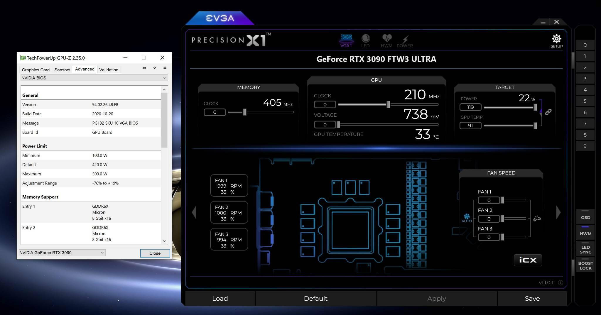 EVGA GeForce RTX 3080 RTX 3090 Overclock