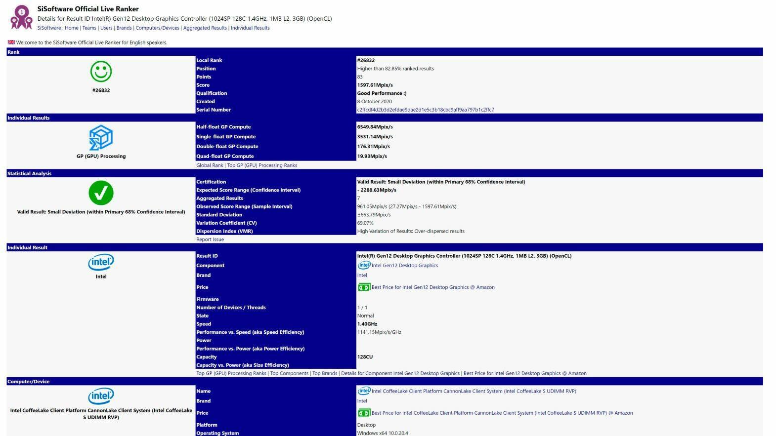 Intel Dual Xe SiSoftware Benchmark