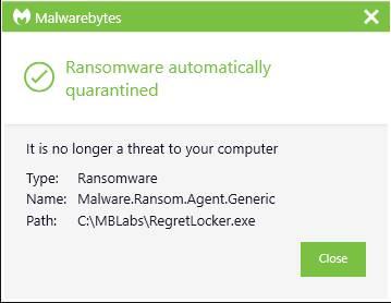 RegretLocker MalwareBytes