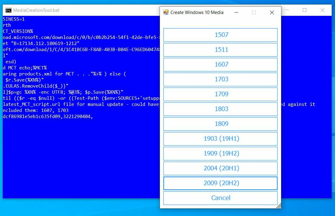windows 10 download script