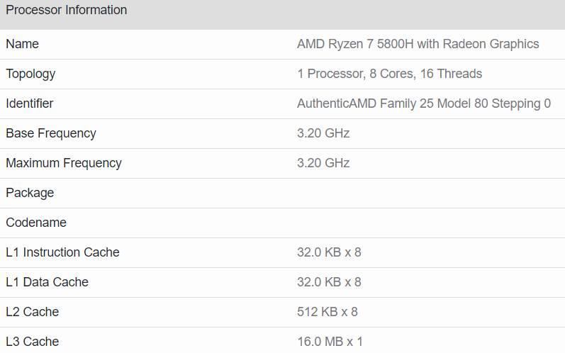 AMD Ryzen 7 5800H Geekbench