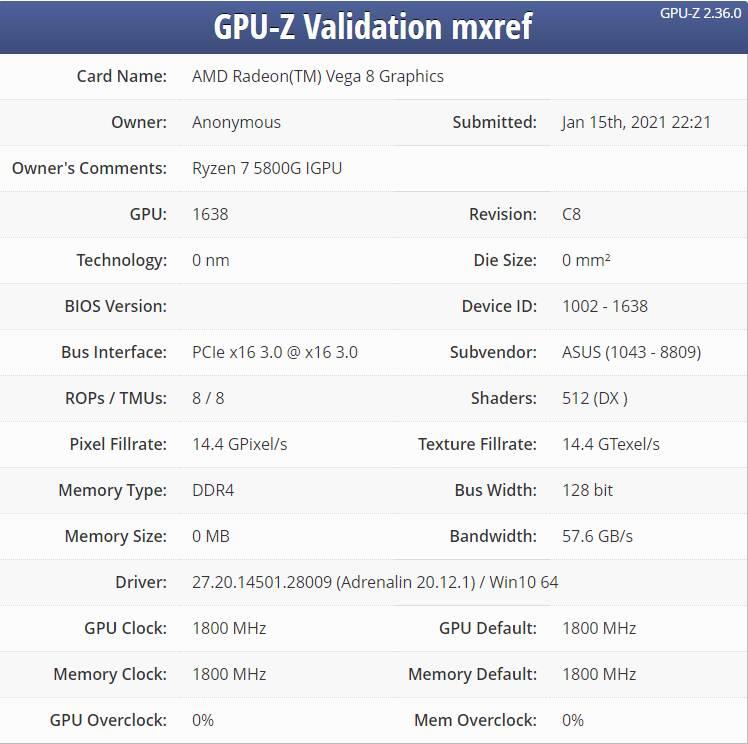 AMD Ryzen 7 5800G Benchmark