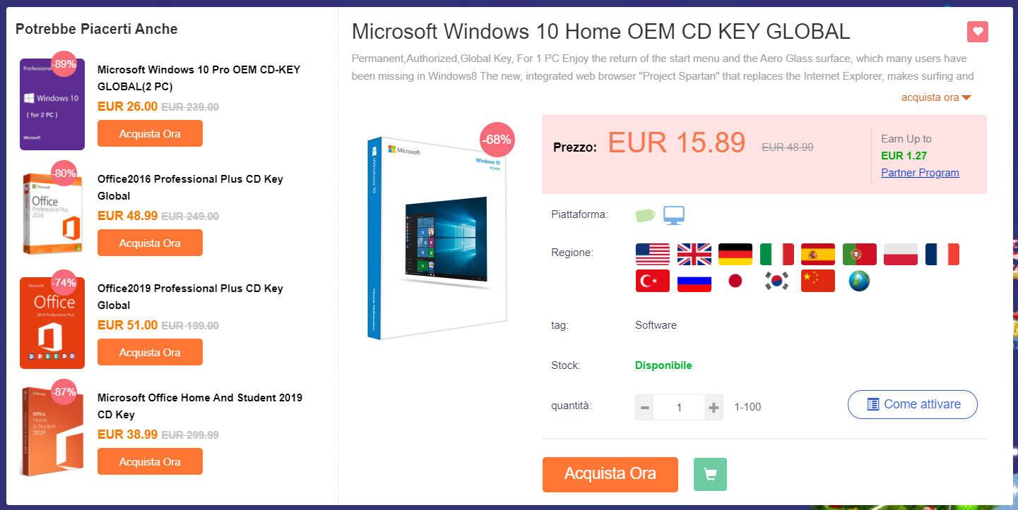 CDKoffers windows10 home 12 eur