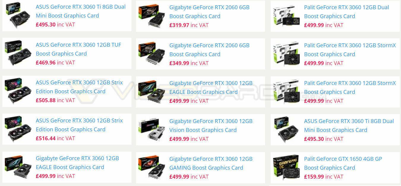 GeForce RTX 3060 Prezzi VideoCardz