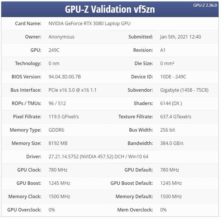 Nvidia RTX 3080 Max-Q leak