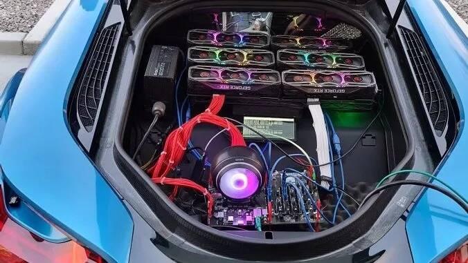 RTX 3080 + BMW i8 mining rig