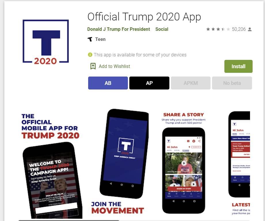 Applicazione Android Donad Trump