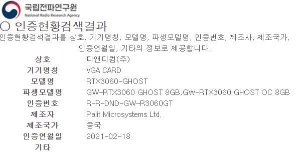 Gainward RTX 3060 8GB
