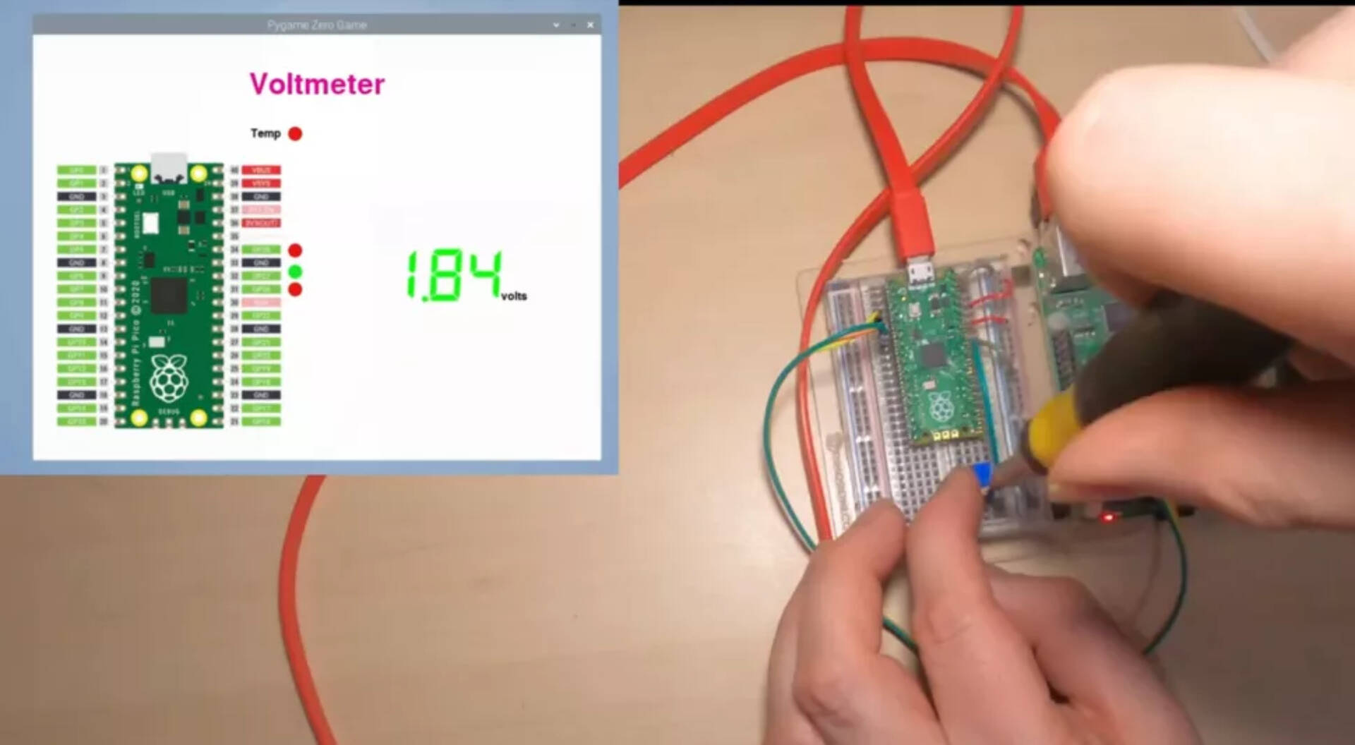 Raspberry Pi Pico Voltmetro