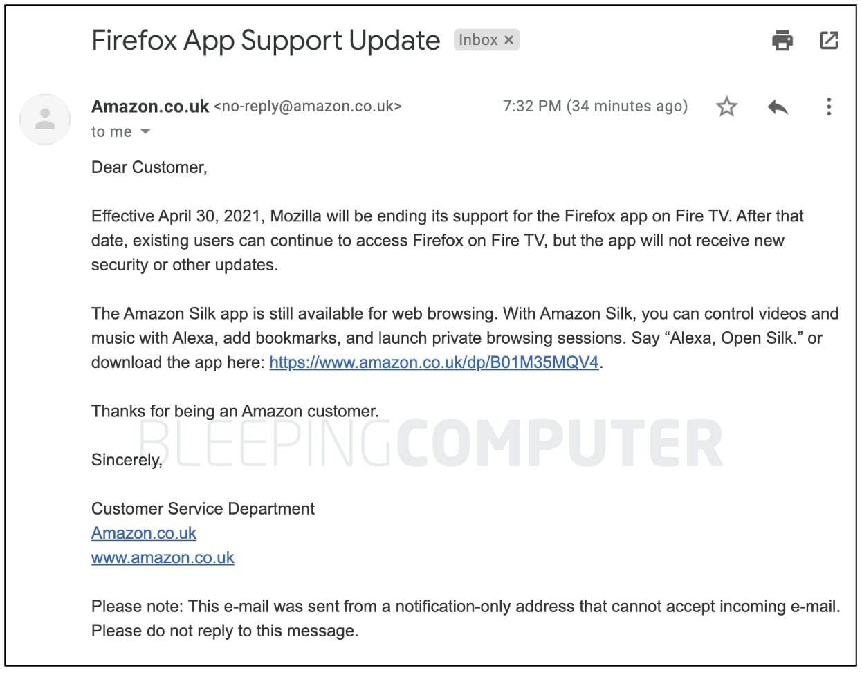 Bleeping Computer Amazon Mozilla