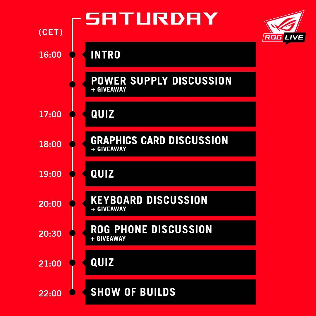 Programma ROG Live - Sabato