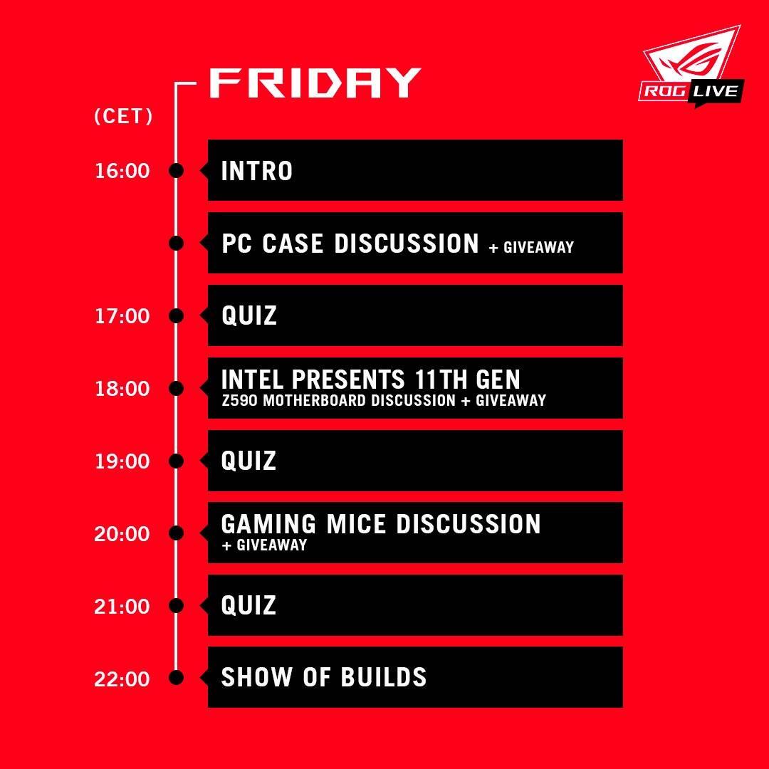 Programma ROG Live - Venerdì