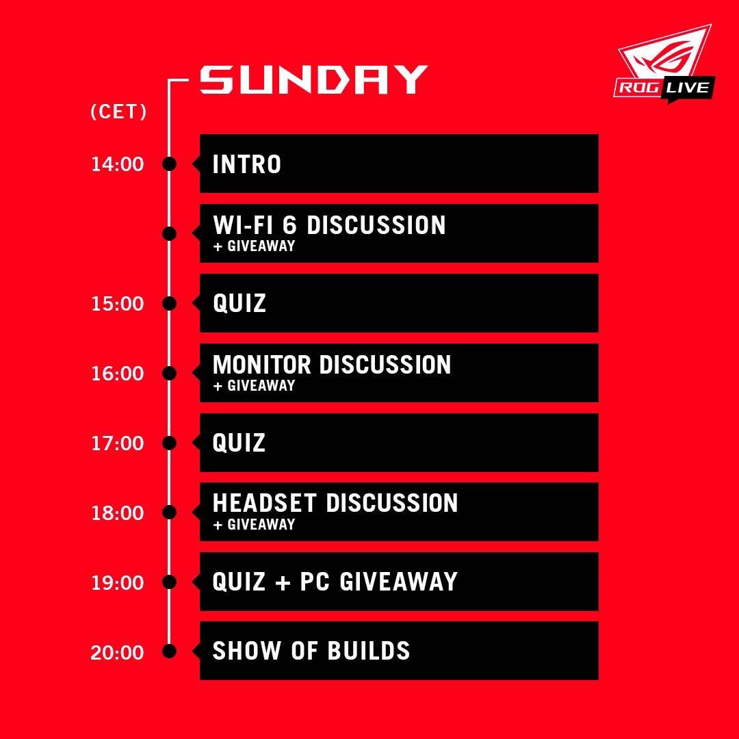 Programma ROG Live - Domenica