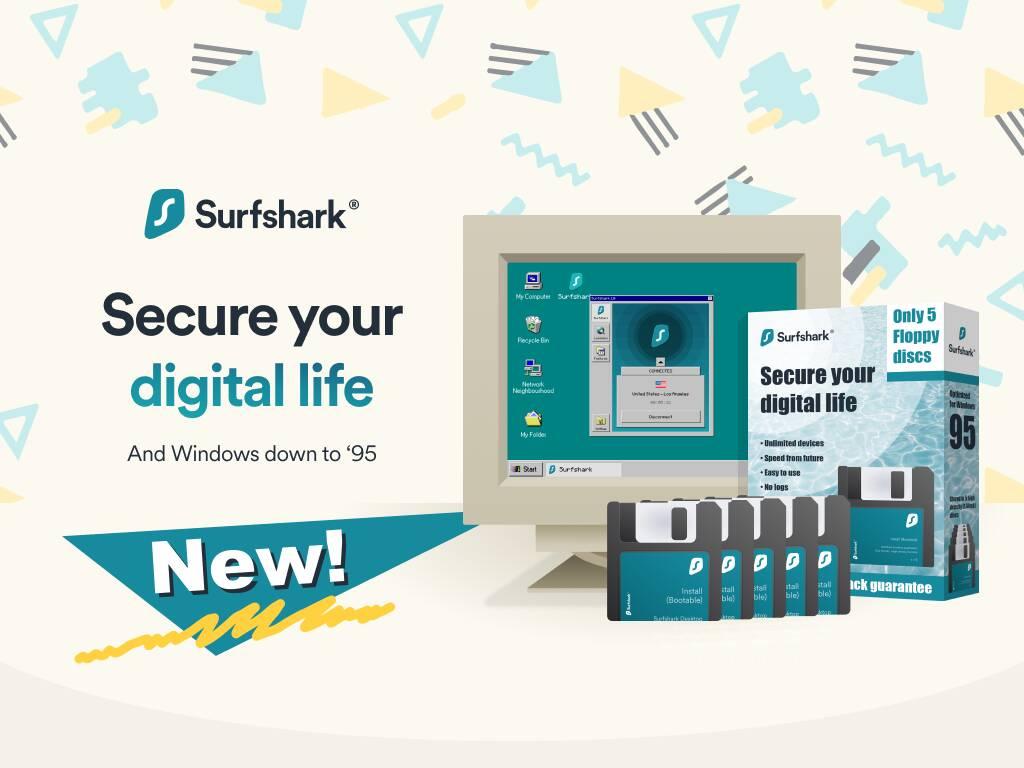 Surfshark VPN per Windows 95 è ora disponibile in soli 5 comodi Floppy Disk!