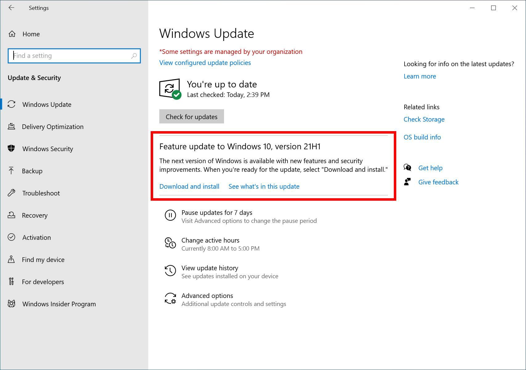Windows 10 21H1 May 2021 Update