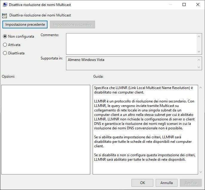 Windows 10 problema DNS