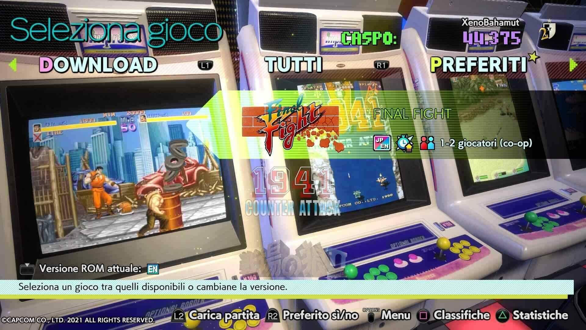 Capcom Stadium Arcade menu