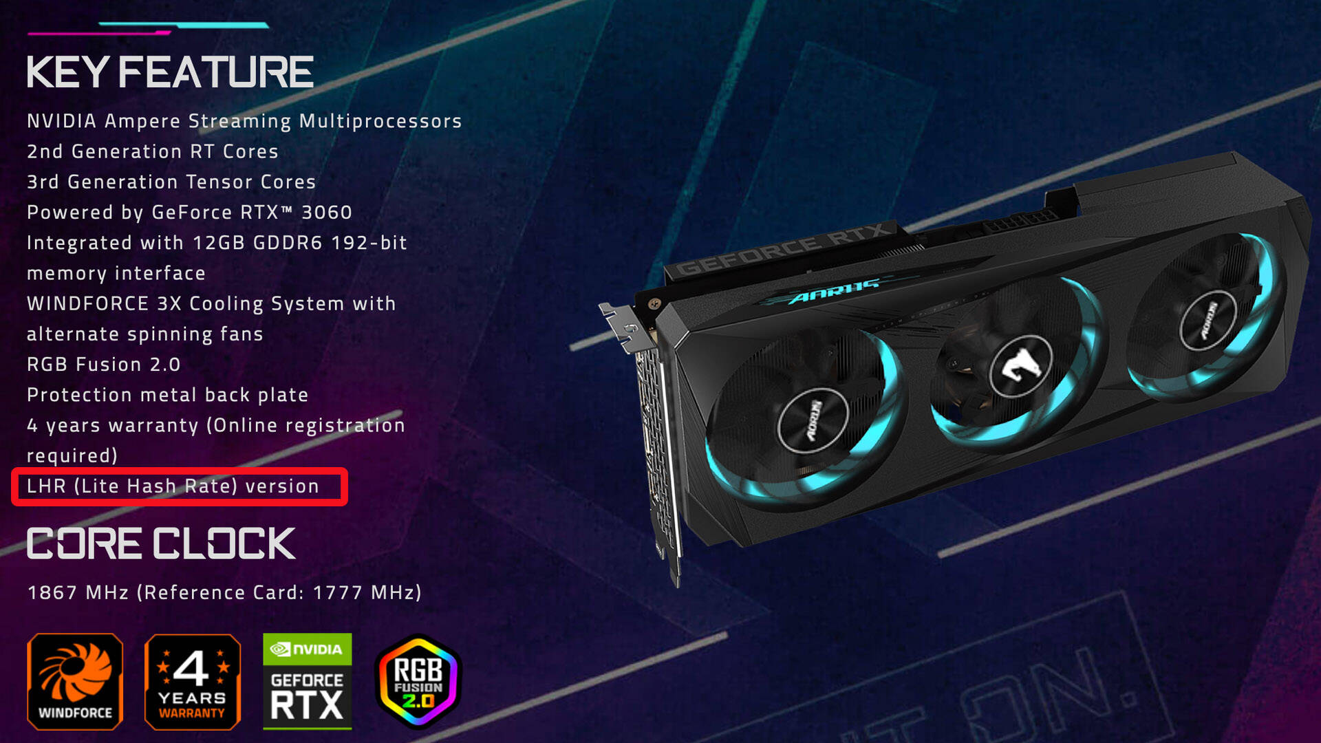 GPU RTX 3060 LHR
