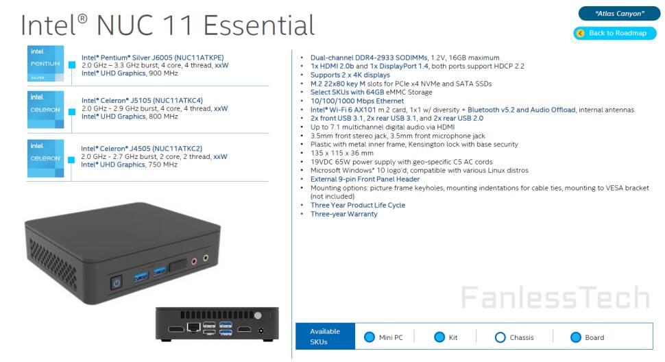Intel NUC 11 Essential