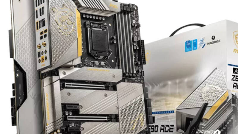MSI, the new MEG Z590 is covered in silver and gold
