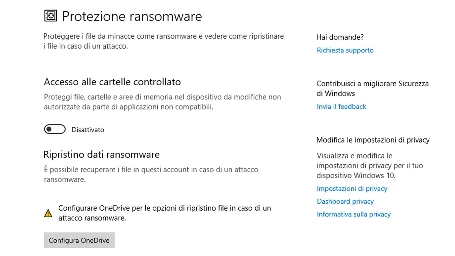 Protezione ransomware - Windows 10