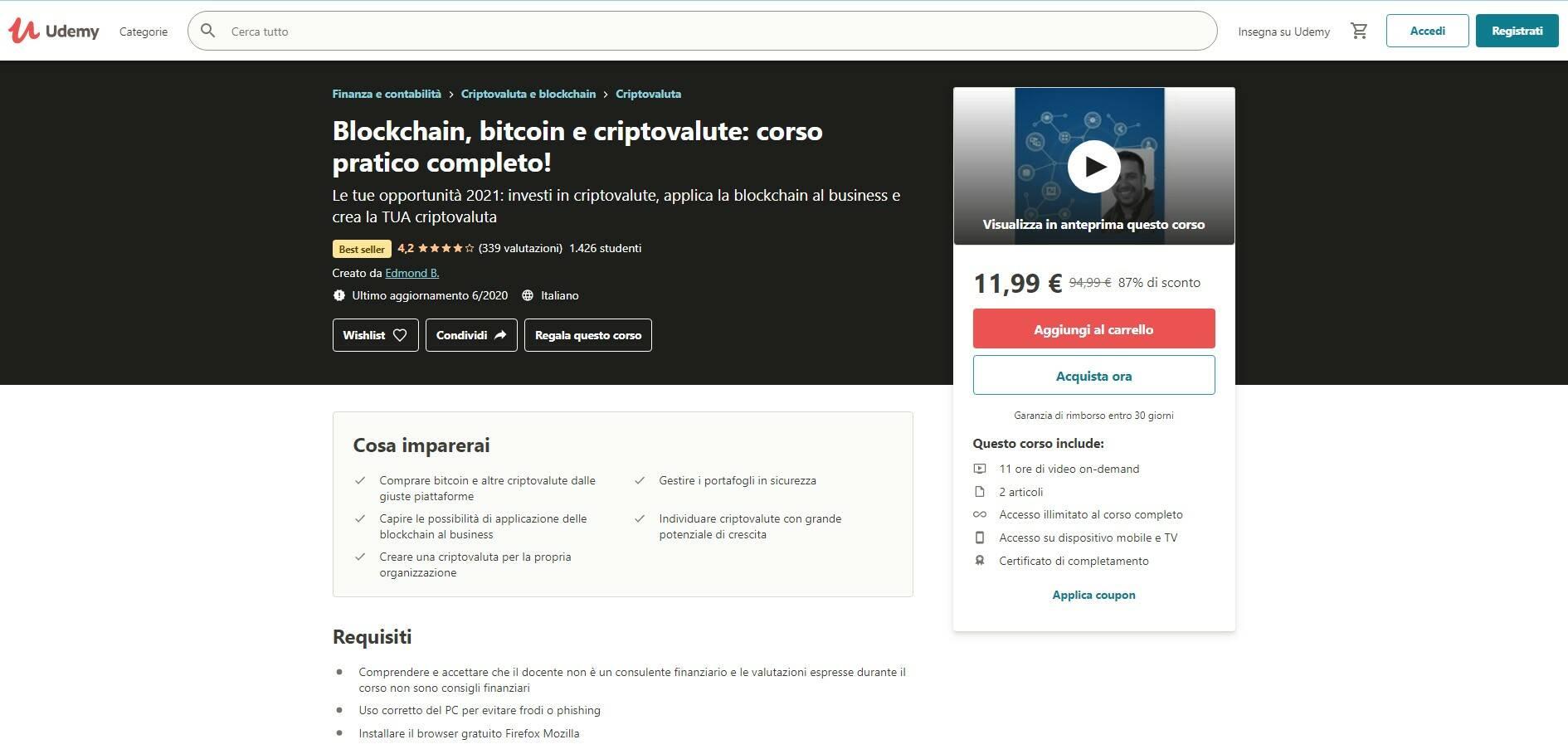 Udemy Corso Criptovaluta Blockchain